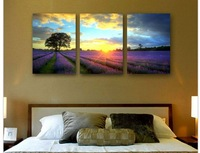 Wholesale Hand-painted  modern wall art home decorative abstract oil painting on canvas Lavender 3 pc