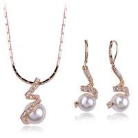 Italina women Fashion wedding jewel sets pearl/ zircon alloy necklaces/earrings WL0606