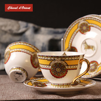 2014 Fashion bone china coffee cup and saucer set red gold thin porcelain quality luxury