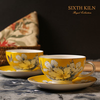 2014 Sixth kiln bone china chinese style yellow kapok fashion coffee cup and saucer gift box gift d'Angleterre teacup