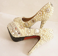 Free Shipping Pearl inlayed crystal 11cm high heel wedding shoes platform white dress czech rhinestone pumps
