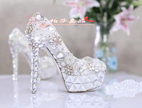 Rhinestone pearl shoes Womens bridal dress sexy ultra high heels wedding shoes platform sexy Stiletto high heels party shoes