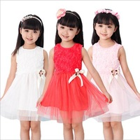 Retail 2014 summer top quality girls flower Lace dress children Princess dress kid dancing  party clothing
