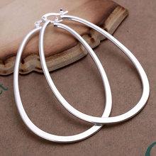 925 silver earrings 925 sterling silver fashion jewelry earring Hoop beautiful earring high quality Flat U Earring(China (Mainland))