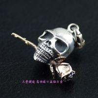 925 pure silver three-dimensional rose pendant skull
