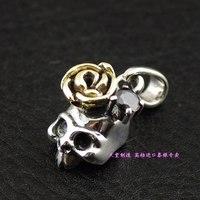 925 pure silver cartoon small skull rose gold silver pendants