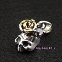 925 pure silver cartoon small skull rose gold silver pendants