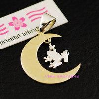 Oriental vibrations gold moon silver pure silver pendants