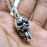 Thai silver , three-dimensional solid big tongue skull 925 pure silver pendants male