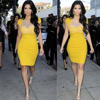 2014 Fashion star style yellow gauze perspective sexy fashion short-sleeve slim ol one-piece dress pencil skirt