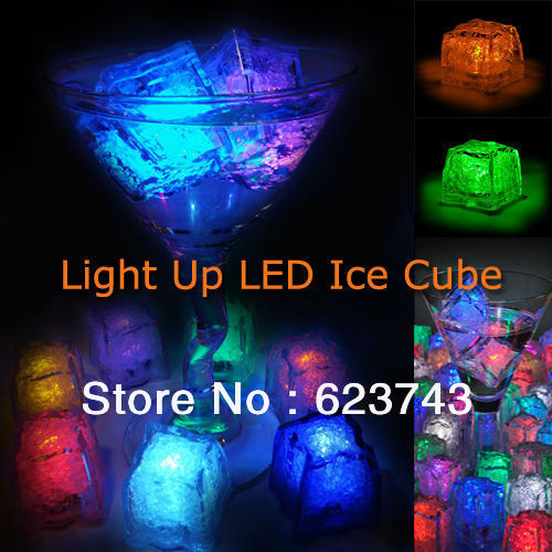 24Pcs free shipping Liquid active Colors Changing LED Night Light ice cube Decoration,Glowing Ice Cube,lighted Ice Led wholesale(China (Mainland))