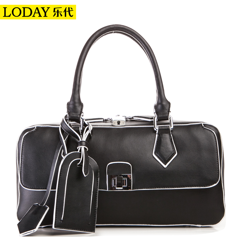 Black smiley bag color block women's cowhide handbag 2014 fashion one shoulder hand side bag(China (Mainland))