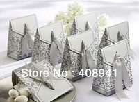 Free Shipping+Wholesale Ribbon Wedding Gifts Candy Boxes Gold or Silver Color Gift Boxes For Wedding Party,1500pairs=3000pcs/lot