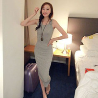 2014 slim female 100% modal cotton vest full dress spaghetti strap basic slim hip casual one-piece dress
