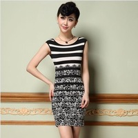2014 elastic women dress / women clothing slim print brief one-piece dress spring summer Free shipping