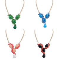 2014 New Fashion Women Statement Necklaces Trendy Alloy Resin Bib Choker Necklace Korean Style High Quality Jewelry
