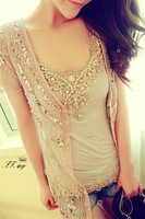 Heavy luxurious hand-beaded sequins drill long cardigan