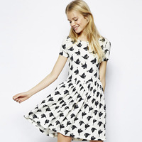 Free Shipping 2014 New Arrival Peace Heart Dove Printed Short-sleeved Dress