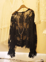 2014 new hollow transparent lace blouse Puff crochet lace shirt female backing shirt