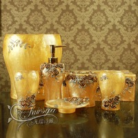 High-class professional bath set 7 pcs/set bathroom supplies wedding gift resin bathroom set RoseA01-7