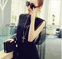 Free shipping  spring and summer aesthetic black gauze full dress slim tank dress irregular full dress