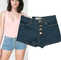 Free Shipping  Hot Retro Womens Girls Blue High Waist Flange Hole Wash Jeans Denim Shorts