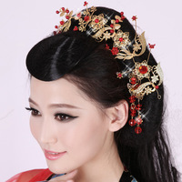 Hair Red decoration bride   cheongsam show clothing accessories pratensis chinese style vintage   wedding accessory