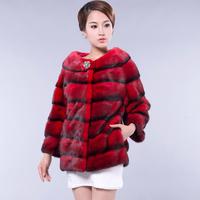 2013 mink fur coat slim wrist-length full leather female short sleeve design