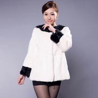 2013 lamb's wool fur coat rabbit fur patchwork lamb's wool color block fur coat