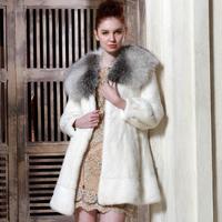 2013 mink fur coat cross fox cape collar mink overcoat