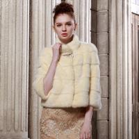 2013 elegant fur stand collar short design mink fur coat