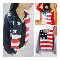 spring 2014 autumn stars and stripes print stand collar baseball uniform women sportswear free shipping
