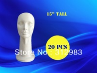 "20pcs/lot 15"" tall high density-styrofoam mannequin head foam head wig/hat/cap/necklace/microphone display 38cm"