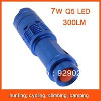 10pcs Mini LED Flashlight Torch Adjustable Focus Zoom 7W 300LM Light Lamp Blue Free Shipping 82803