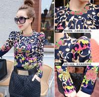 Winter women's 2014 fashion vintage baroque print slim basic sweater top