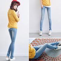 2014 female Sky Blue jeans female skinny legging pants female plus size pencil pants light color bag