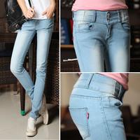 Mid waist buttons light blue jeans slim skinny elastic pencil pants female trousers