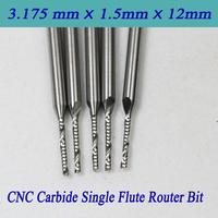 5pcs 3.175*1.5*12mm Carbide CNC Router Bits Single Flute Spiral Bit