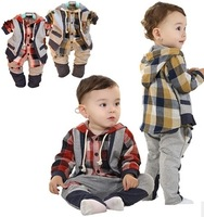 Free Shipping 16020921 Children's clothing set  Boy's Suit  Long-sleeved hooded vest coat+ Long pants Plaid