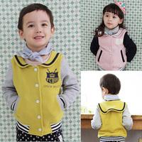 2014 Rushed Limited Freeshipping Unisex Casual Cotton Canvas Spring Navy Style Clothing Baby Child Sweatshirt Cardigan Wt-2392
