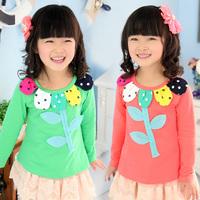 2014 Hot Sale Freeshipping O-neck Cotton Spring Flower Girls Clothing Baby Child Top Long-sleeve T-shirt Tx-2695 Basic Shirt