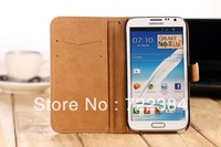 1 pieces Retro Luxury Genuine Leather Case for Samsung Galaxy Note2 II N7100 Wallet Stand Flip Holster Mobile Phone Bags