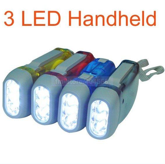 20pcs/lot Battery-free 3 LED Flashlight,Mini Handheld Led Torch, Led Light Hand Press Wind Crank,Free Drop Shipping(China (Mainland))