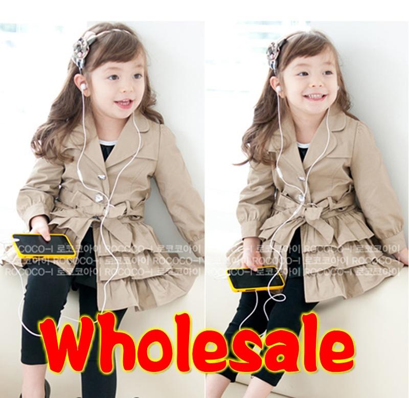 Wholesale 5pcs/lot New 2014 Korean style girl children's falbala Outer Wear coat / girl's coat baby jacket(China (Mainland))