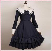newest! free shippiong Lolita dress preppy style bow ruffle hem skirt long-sleeve customize  hot