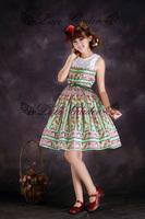 newest! free shippiong Lace vintage dress elegant fresh green stripe wall lace tank dress  hot