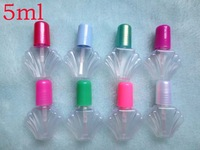 Wholesale and Retial 5ml Plastic Nail polish Bottle 100pcs/Lot mulitcolor conchoidal DIY Empty Refillable Bottle