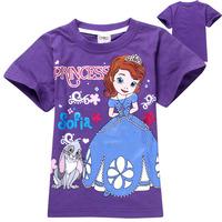 Wholesale New 2014 Summer Kids Clothes Cotton t-shirts Baby Girl t-shirt Cartoon Girls Princess Sofia t shirt Children t shirts