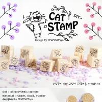 12pcs/lot Free shipping DIY Scrapbooking Vintage Wood Stamps wholesale Decoration Creative Cat Stamp Set Gift