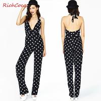 2014 new Richcoco fashion racerback V-neck zipper back black and white polka dot halter-neck d218 jumpsuit